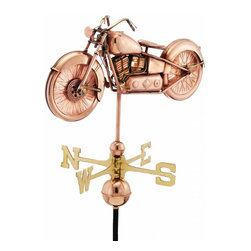 G.D. - Good Directions Motorcycle Weather Vane - Polished Copper - The perfect combination of technology, craftsmanship, and American heritage, this motorcycle weathervane is ready to race over the rooftop of your house, barn, garage, or cupola. Our Good Directions' artisans use Old World techniques to handcraft this fully functional, standard-size weathervane that's unsurpassed in style, quality and durability. This motorcycle weathervane would be a great gift for motorcycle enthusiasts!