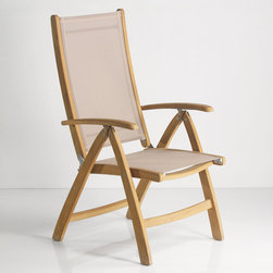 Rivera Teak Sling Reclining Chair - The Rivera Reclining Chair provides comfort and beauty with natural teak wood and stretch resistant fabric to complement your outdoor decor. The multi-position back is easily adjustable and will provide continuous comfort and relaxation.