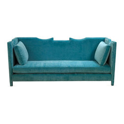 Lola Sofa, Turquoise - Boring, this sofa is not! It is full of pizzazz and style. I would love a colorful accent like this in my den.