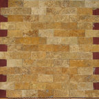 1 in. x 2 in. Yellow Gold Tumbled Split Face Bricks Pattern Mesh-Mounted Travert - 1 in. x 2 in. Yellow Gold Mesh-Mounted Split Face Bricks Pattern Travertine Mosaic Tile is a great way to enhance your decor with a traditional aesthetic touch. This Tumbled Mosaic Tile is constructed from durable, impervious Travertine material, comes in a smooth, unglazed finish and is suitable for installation on floors, walls and countertops in commercial and residential spaces such as bathrooms and kitchens.
