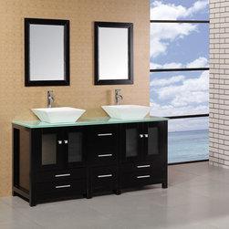 """61"""" Arlington Double Vessel Sink Vanity - Glass Top (DEC072B-G) -"""