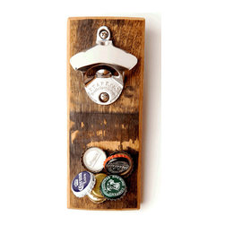 Wood Thumb - Bourbon Barrel Magnetic Bottle Opener - Gather 'round and watch the bottle caps build an epic pile of wonder. This beautifully designed bottle opener will be the centerpiece of your kitchen, bar or brewery. Made in San Francisco with the highest quality hardwood from reclaimed Bourbon Barrels it features super powerful magnet that catches and holds up to 30 bottle caps, it even sticks to the fridge or mounts on wall. No more searching around for a bottle opener, stop using your beautiful teeth, car door jamb, or forearm! Just walk up to the fridge or wall and save the day!                * Stainless Steel Bottle Opener * Reclaimed Bourbon Barrel Hardwood * Most powerful magnets  * Hardware included