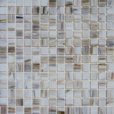 Tilesbay.com - Sample of 3/4x3/4x4MM Ivory Iridescent Mosaic Glass Tile - Iridescent Ivory Glass 12x12 Mesh-Backed tiles are a lovely blend of whites, grays and rich reddish browns designed to coordinate with interior kitchen and bathroom design features. These easy to clean glass mosaic tiles are perfect for kitchen backsplashes and both tub and shower surrounds.