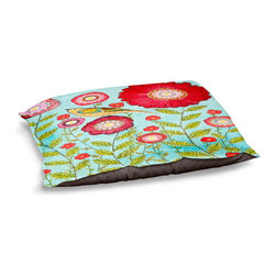 """DiaNoche Designs - Dog Pet Bed Fleece - Red Flowers - DiaNoche Designs works with artists from around the world to bring unique, designer products to decorate all aspects of your home.  Our artistic Pet Beds will be the talk of every guest to visit your home!  BARK! BARK! BARK!  MEOW...  Meow...  Reallly means, """"Hey everybody!  Look at my cool bed!  Our Pet Beds are topped with a snuggly fuzzy coral fleece and a durable indoor our underside material.  Machine Wash upon arrival for maximum softness.  Made in USA."""