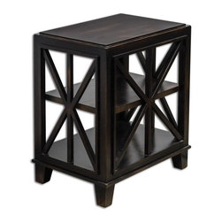 Uttermost - Uttermost 25633  Asadel End Table - Carved moldings and open fretwork made from plantation-grown mango wood in soft, worn black finish.