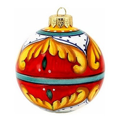 Artistica - Hand Made in Italy - Christmas Ornament: Red Pia Design - Round Ball Sm. - Christmas Ornament