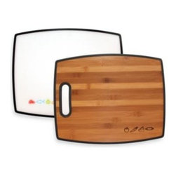 Totally Bamboo - Totally Bamboo 2-Sided Poly-Boo Cutting Board - This unique cutting board features polyvinyl on one side and bamboo on the other. Poly side is perfect for fish, meats and poultry, while the bamboo side is great for prepping salads, cutting vegetables, and more.