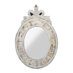 Kathy Kuo Home - Judy French Country Oval White Wash Mirror - This stunning, elaborately carved oval mirror would be fabulous in a bedroom, hallway or living room.  Sectioned wheel like carvings circle the wall mirror and an ornate bow-shaped ribbon of white washed oak neatly decorates the top. A most feminine accent.