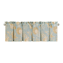 "C F Enterprises - Natural Shells Unlined Valance - The Natural Shells Unlined Valance is part of a bedding collection by C F Enterprises in Aqua with White and Taupe Seashells. The valances are unlined and measure 72"" x 15.5"". Generally allow 1 valance per window."