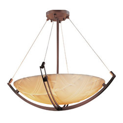 Justice Design Group - Porcelina Dark Bronze LED 48-Inch Round Bowl Pendant with Crossbar and Banana Le - - The Porcelina Collection was created to offer large-scale lighting fixtures that coordinate with out extensive Limoges Collection of translucent porcelain. The sculpted surfaces of these faux porcelain shades capture the classic, yet contemporary, designs of the delicate Impressions of the Limoges Collection. LED Technical Data: Driver Efficiency: Greater Than 80 percent Light Engine Efficiency: 77 Lumens per Watt (initial) We recommend installing LED fixtures on a dimmer switch  - Bulb is included  - Dimmable down to 5 percent with the use of Incan/Triac or ELV dimmer, not included  - Lumens: 6000 Lumens, which is equivalent to approximately four 100 watt incandescent bulbs.  - Color Temperature (CCT): The light quality is warm (3045K) and truly stunning  - Average Hours: Rated for 50,000 hours, which means no more climbing ladders to change light bulbs!  - Color Rendering Index: 90  - Beam Spread: 120�  - Shade Material or Composition: Faux Porcelain Resin Justice Design Group - PNA-9727-35-BANL-DBRZ-LED-6000