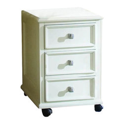 American Drew - American Drew Camden Mobile 2-Drawer Lateral Wood File Cabinet in Buttermilk - American Drew-Filing Cabinets-920941-The American Drew Camden Collection accents simple forms with quiet traditional references gentle curves and a beautiful time worn Buttermilk finish that lets the character of the wood show through. The brushed nickel finish hardware adds even more casual elegance to Camden. This collection will work great in an urban chic setting classic antique or beach cottage get-away. The Camden File Cabinet has a casual and elegant design that will fit your style and storage needs.