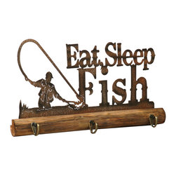 """Eat Sleep and Fish Wall Hooks - A Black Forest Decor Exclusive - Ideal for your fishing cabin or mud room the metal art and wood Eat Sleep and Fish Wall Hooks has three handy metal hooks. Measures 17""""W x 1""""D x 9""""H."""