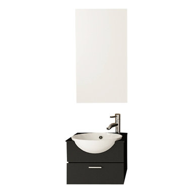 """JWH Imports - 20.9"""" Mira Single Sink Wall Mounted Modern Bathroom Vanity Furniture Cabinet - Reduced to its necessary elements, this striking vanity is the definition of minimalism. It is not without luxe features, however. The solid oak cabinet cradles a partly recessed ceramic sink, which adds a dramatic appeal. The drawer below holds all the necessities. It's the very definition of minimalism."""