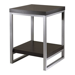 Winsome Wood - Jared End Table with Steel Tube, , Enamel - Our Jared line of contemporary occasional tables that are made with pewter color enamel finished metal tube frames and black wood tops. This End Table has a wooden bottom shelf.