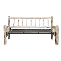 """Montana Woodworks - Montana Daybed, Lacquered - This classic day bed frame, handcrafted by the artisans at Montana Woodworks, provides the customer with a robust and rustic platform on which they can rely for years of trouble free use. The genuine lodge pole pine is skip peeled by hand using old-fashioned draw knives to ensure a unique, one-of-a-kind appeal that will draw comments and praise from all who see it. Mattress not included. Mortise and tenon joinery throughout. There is approximately 12 inches of space underneath. Some assembly required. 20-year limited warranty included at no additional charge.; Hand Crafted in Montana U.S.A.; Solid, U.S. grown genuine lodge pole pine wood; Skip-peeled by hand using old fashioned draw knives.; Heirloom Quality; 20 Year Limited Warranty; Durable Build, Fit and Finish; Each Piece Signed By The Artisan Who Makes It; Mortise and Tenon Joinery; Equal in Size to Twin Bed; Weight: 90 lbs; Dimensions: 46""""W x 87""""L x 41""""H"""