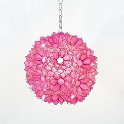 "Venus 15"" Pendant Chandelier in Hot Pink Translucent Capiz Shell - I have loved this pendant for a very, very long time but just didn't have a place for a beautiful pink shell light fixture. I think it would be perfect for a room where you just want to use bright pops of pink as your accent color."