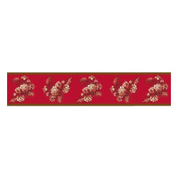 """Sweet Jojo Designs - Oriental Garden Wall Paper Border (15' x 6"""") - Red is the color known to evoke romantic notions in even the most stoic of people. Spice up your room and your life with a wallpaper border that adds a dash of romance and intrigue. Featuring a sultry color palette, amorous flowers and a warm glow, this border will add steam heat to your dull walls."""