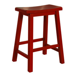 """Powell - Powell Color Story Crimson Red Counter Stool X-034-682 - A classic """"schoolhouse"""" style vertical slat Counter Stool with camel shaped crest rail, saddle shaped wood seat, and open box stretched tapered legs. Finished in Crimson Red. Some assembly required."""
