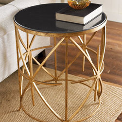 "Horchow - Granite-Top Side Table - Handcrafted side table marries a black granite top with a hand-painted antique-gold iron base. 20""Dia. x 24""T. Imported."
