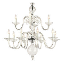 """Inviting Home - Egmont Crystal Chandelier (large) - large Egmont clear crystal glass chandelier; 35"""" x 41""""H (12 lights); assembly required; 12 light chandelier made of hand-blown smooth crystal glass; all metal parts are chromium plated; Preciosa genuine Czech crystal. The chandelier featuring glass spheres placed in the central rod has been produced since 17th century. In the 20th century the original metal was replaced with both clear or colored glass; * ready to ship in 2 to 3 weeks; * assembly required; The design of all crystal glass chandeliers are based on the combination of classical shapes and modern decorations. Plane shapes in clear crystal or other colors mingle with decorative elements such us straight cuts optic or spun crystal glass. As fixed stars among lighting fixtures these types of chandeliers become timeless sources of illumination suitable for various interiors. These chandeliers are manufactured using oxygen fuel technology. Only few manufacturers in Europe that use oxygen fuel technology. This allows for better control and manage the preparation process of glass. The result is impeccably pure glass of highest quality with minimal amount of visual irregularities. Every component passes thorough strict internal Quality Control processes. Highest quality European production with certified standards. UL approved - dry location; hardwire; 12x E12/14 - 40W bulbs; bulbs not included. 3 to 4 feet chain drop provided. Hand crafted in Czech Republic."""