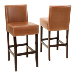 Great Deal Furniture - Lowry Hazelnut Leather Bar Stool (Set of 2) - Add comfort to your home with our Lowry Hazelnut Leather Bar stool. With our soft hazelnut bonded leather and well padded seats, this piece makes an ideal seat for any get together. Built from hardwood with dark stained legs, our Lowry chair is built to last for years to come.