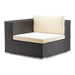 Zuo - Cartagena Outdoor Corner Chair - The Cartagena Outdoor Collection features a woven synthetic wrapped around an aluminum frame making all the pieces lightweight and easy to configure in your outdoor space.  The dark espresso color keeps the boxy profile chic and modern, while the synthetic, weaved pattern makes this collection extremely weather-resistant.  The light-colored cushions are included and make this collection cozy, while appearing structured with clean lines.  Whether you are enjoying the tranquility of nature alone or entertaining a house full of guests at your Labor Day bash, the Cartagena Outdoor Corner Chair is a perfect addition to host family, friends and neighbors.  The Cartagena Outdoor Collection features a sectional, loveseat, arm chair and coffee table.  Sold separately.