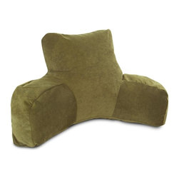 Majestic Home Goods - Villa Fern Reading Pillow - Now you can kick back and relax anywhere with this comfortable and supportive reading pillow. The Majestic Home Goods Villa reading pillow provides back and head support that is perfect for many activities such as reading, watching TV or playing video games. Stuffed with a super loft recycled polyester fiber fill, the reading pillows zippered slipcover is woven from 100% polyester Micro-velvet. Spot clean slipcover with mild detergent and hang dry. Do not wash insert.