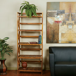 Office Star Products - Hayden Five Tiered Cross-stroke Design Solid Wood Shelf Rack - A shelf rack with classic styling and solid wood construction arrives in the all new Hayden Five Level Shelving Unit. Ideal for kitchen ware or potted greenery,this 5 tiered cross-stroke designed piece is as attractive as it is affordable.