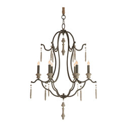 Kathy Kuo Home - Marisol French Country Simple Dark Gray Iron 6 Light Chandelier - Stunning dark gray sets the stage for a luminous light show. Our intricate iron chandelier is sprinkled with sophisticated accents for an ornate, eclectic six light centerpiece. Candelabra lights add a rustic touch to this romantic French country fixture.