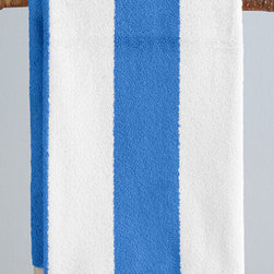 Cabana Stripe Towel, Cornflower Blue - If you're looking to create a more grown-up look in your child's bathroom, incorporate these super-plush striped bath towels.