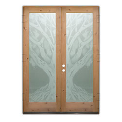 "Glass Front Entry Doors - Frosted Glass Obscure - OAK TREE 2D - Glass Front Doors, Entry Doors that Make a Statement! Your front door is your home's initial focal point and glass doors by Sans Soucie with frosted, etched glass designs create a unique, custom effect while providing privacy AND light thru exquisite, quality designs!  Available any size, all glass front doors are custom made to order and ship worldwide at reasonable prices.  Exterior entry door glass will be tempered, dual pane (an equally efficient single 1/2"" thick pane is used in our fiberglass doors).  Selling both the glass inserts for front doors as well as entry doors with glass, Sans Soucie art glass doors are available in 8 woods and Plastpro fiberglass in both smooth surface or a grain texture, as a slab door or prehung in the jamb - any size.   From simple frosted glass effects to our more extravagant 3D sculpture carved, painted and stained glass .. and everything in between, Sans Soucie designs are sandblasted different ways creating not only different effects, but different price levels.   The ""same design, done different"" - with no limit to design, there's something for every decor, any style.  The privacy you need is created without sacrificing sunlight!  Price will vary by design complexity and type of effect:  Specialty Glass and Frosted Glass.  Inside our fun, easy to use online Glass and Entry Door Designer, you'll get instant pricing on everything as YOU customize your door and glass!  When you're all finished designing, you can place your order online!   We're here to answer any questions you have so please call (877) 331-339 to speak to a knowledgeable representative!   Doors ship worldwide at reasonable prices from Palm Desert, California with delivery time ranges between 3-8 weeks depending on door material and glass effect selected.  (Doug Fir or Fiberglass in Frosted Effects allow 3 weeks, Specialty Woods and Glass  [2D, 3D, Leaded] will require approx. 8 weeks)."