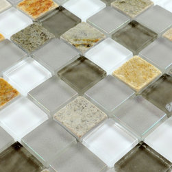 Stone Glass Mosaic Tile - Product Description:Item#: STG0120Collection: Stone Glass MosaicColor: Smoky whiteSurface Finish: Glossy glass and stoneShape: SquareChip Size: 1x1In. (23mm x 23mm)Thickness: 5/16 In. (8mm)Each sheet of this tile is approximately 1 sq ft per sheet and is mesh mounted on high quality fiber glass for easy installation of your mosaic tile projects.Application: Stone Glass Mosaic are impervious to the water, thus it is great for both interior and exterior use so moisture is not an issue. Stone Glass Mosaic are great on floors and walls and have been most popular in bathrooms, spas, kitchen backsplash, wall facades and pools as well as a variety of other applications.Characteristics: Stone Glass Mosaic has a zero water absorption rate, and this tile exceeds ANSI standards for water absorption for mosaic tile. It is strong, durable, contamination free, and only the best quality tiles are selected as our tiles are inspected for blemishes before shipment.