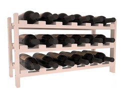 18 Bottle Stackable Wine Rack in Pine with Burgundy Stain - Expansion to the next level! Stack these 18 bottle kits as high as the ceiling or place a single one on a counter top. Designed with emphasis on function and flexibility, these DIY wine racks are perfect for young collections and expert connoisseurs.