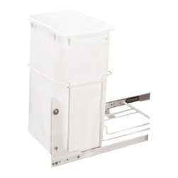 "Rev-A-Shelf - Rev-A-Shelf RV-18PB-1 Single 35 Qt. Pullout Trash Can - White - Finding an appropriate position for your waste receptacle is not always the easiest task, as large garbage cans often take up a lot of space, especially in the kitchen. This is where the Rev-A-Shelf RV-18PB-1 S Single 35 Qt Pullout Waste Container in White comes into play. This cabinet organizer comes fully assembled and can be simply installed to the bottom of your cabinet with just four screws. The 75lb rated 3/4 Extension Ball Bearing Slides easily slide in and out whenever you need with 35 Quarts of capacity. Size Specifications: 14-3/8"" W x 22"" D x 19-1/4"" H. Please make sure you have a minimum cabinet opening of at least 14-1/2"" W x 22-1/8"" D x 19-3/8"" H to ensure a proper fit."