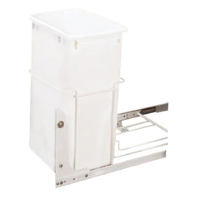"""Rev-A-Shelf - Rev-A-Shelf RV-18PB-1 Single 35 Qt. Pullout Trash Can - White - Finding an appropriate position for your waste receptacle is not always the easiest task, as large garbage cans often take up a lot of space, especially in the kitchen. This is where the Rev-A-Shelf RV-18PB-1 S Single 35 Qt Pullout Waste Container in White comes into play. This cabinet organizer comes fully assembled and can be simply installed to the bottom of your cabinet with just four screws. The 75lb rated 3/4 Extension Ball Bearing Slides easily slide in and out whenever you need with 35 Quarts of capacity. Size Specifications: 14-3/8"""" W x 22"""" D x 19-1/4"""" H. Please make sure you have a minimum cabinet opening of at least 14-1/2"""" W x 22-1/8"""" D x 19-3/8"""" H to ensure a proper fit."""