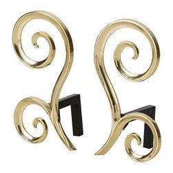 Arteriors - Arteriors Home - Libby Andirons ( Set of 2) - 6011 - This beautiful polished brass andiron set evokes an understated elegance that will hold its own in any room. Black iron billet bars attach to the back. Decorative use only.