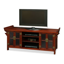 "China Furniture and Arts - Elmwood Altar Style Media Cabinet - Made of beautiful Elmwood in ancient altar style, this cabinet can be used as a sideboard to store books or use it as living room furniture to place a flat screen TV on. Hand crafted from Northern China, multi-layer of traditional lacquer technique that gives this piece its depth. Mahogany finish complements any decorative object that leaves you with a great opportunity to unleash your creativity. Removable shelves inside for your storage convenience. The interior measurements for the glass cabinet with shelf are 17""Wx17""Dx9""H; the middle compartments are 20""Wx17""Dx5""H each. Cabinet is 24""H off the floor. Cable outlets can be made upon request. Display objects not included."