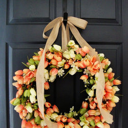 Tulip Wreath from HomeHearthGarden - This absolutely gorgeous Tulip Wreath is handcrafted with hundreds of Coral, Celery, and Ivory color tulips. Finishing touches include coral & celery floral miniatures, spring berries, and a burlap bow (see close up photo).
