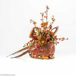 Fall Silk Floral Arrangement placed in a unique Turkey Base - Custom Fall Silk Floral Arrangement placed in a unique Turkey Base