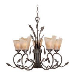 Vaxcel - 6L Chandelier w/ Excavation Glass - Vaxcel Lighting CP-CHB006BW 5 Light Capri Chandelier This item by Vaxcel Lighting is available in a black walnut finish. Features excavation glass. Illu