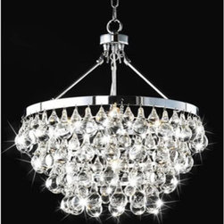 WAREHOUSE OF TIFFANY - Eleanor Crystal Chandelier - This Eleanor crystal chandelier creates a glamorous sparkling pendant that complements your modern look. Made of clear crystal and metal, stands H19in x W18in, uses bulb qty: 5 x 60W type E14 and 100 cm chain included.