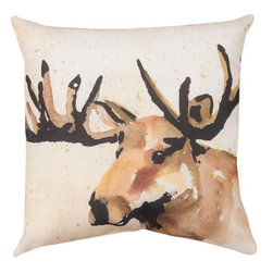 Manual - Pair of Brush Lodge Moose Watercolor Print 18 Inch Throw Pillows - This pair of 18 inch by 18 inch woven throw pillows adds a wonderful accent to your home or patio. The pillows have ClimaWeave weatherproof exteriors, that resist both moisture and fading. The front and back of the pillows have the same print, a watercolor depiction of a moose's head against a tan-speckled off-white background. They have 100% polyester stuffing. These pillows are crafted with pride in the Blue Ridge Mountains of North Carolina, and add a quality accent to your home. Original artwork by Barb Tourtillotte. They make great gifts for nature lovers.