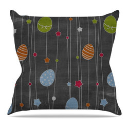 """KESS InHouse - KESS Original """"Chalk Eggs"""" Multicolor Easter Throw Pillow, Outdoor, 26""""x26"""" - Decorate your backyard, patio or even take it on a picnic with the Kess Inhouse outdoor throw pillow! Complete your backyard by adding unique artwork, patterns, illustrations and colors! Be the envy of your neighbors and friends with this long lasting outdoor artistic and innovative pillow. These pillows are printed on both sides for added pizzazz!"""
