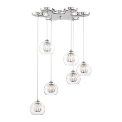 """Possini Euro Design - Contemporary Possini Euro Onida 17 3/4"""" Wide Crystal Glass Pendant - Full of contemporary style this chic pendant light is a great way to add gleaming shine to your home. A striking chrome finish adorns the flower-shaped canopy while six clear glass orbs with inner crystal beaded globes provide added radiance when illuminated. From the Onida Collection. Flower shaped canopy. Chrome finish. Clear outer glass orbs. Inner beaded crystal globes. Includes six 20 watt G9 halogen bulbs. Maximum adjustable height is 72 1/2"""" high. 17"""" wide. 4"""" high.  Flower shaped canopy.   Chrome finish.  Clear outer glass orbs.  Inner beaded crystal globes.  Maximum adjustable height is 72 1/2"""" high.  Includes six 20 watt G9 halogen bulbs.  17 3/4"""" wide.  4"""" high."""