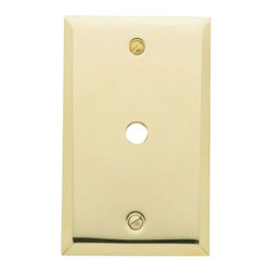 Baldwin Hardware - 1 Cable Wall Plate in Polished Brass (4764.030.CD) - Baldwin - 1 Cable Wall Plate - Polished Brass