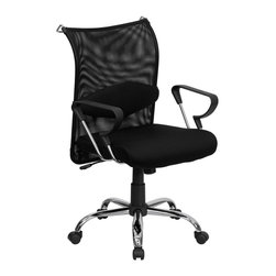Flash Furniture - Flash Furniture Office Chairs Mesh Executive Swivels X-GG-5092-TB - This extremely comfortable mesh office chair has a distinct look with its curved back and chrome framed arms. The breathable mesh back is an added bonus for keeping your back cool when sitting for long periods of time. Back features a chrome coat rack to keep your belongings within reach. Chair has attractive chrome arms with polyurethane arm caps. [BT-2905-GG]