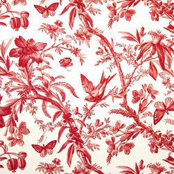 Red toile fabric bird butterfly passion flowers, Standard Cut - A red toile with birds, butterflies, and passion flowers. A toile fabric for red lovers only!