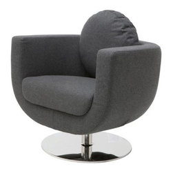 Nuevo Simone Swivel Lounge Chair - Sleek and chic, the Nuevo Simone Swivel Lounge Chair has enough style to go around. This contemporary chair has a heavily-padded seat cushion available in your choice of color. The polished, stainless steel base swivels a full 360 degrees.About NuevoOne of the most exciting contemporary design companies in the market, Nuevo has made a name for itself with its unique approach to professional-quality home furnishings. Creating pieces with a defined contemporary edge, Nuevo never fails to make a fashionable statement of the highest construction value.