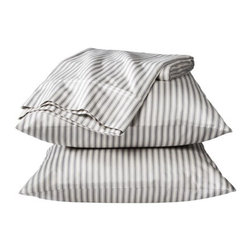 Threshold Performance Sheet Set, Pattern - An old-school ticking stripe on crisp sheets is a wonderful addition to the bedroom. I love the gray color and think that it would be just perfect paired with a geometric duvet.
