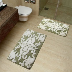Chesapeake 2 pc. Iron Gate Bath Rug Set - Complete the look of your bathroom with the Chesapeake 2 pc. Iron Gate Bath Rug Set. This two-piece bath rug set features a hand-tufted, 100% cotton design that's ultra absorbent and super soft underfoot. Available in an array of colors to suit your style, the ornate, dual-toned design of this set is the ideal addition to your traditional bath. This set comes complete with one small (20 x 32 in.) rug and one large (23 x 39 in.) rug.